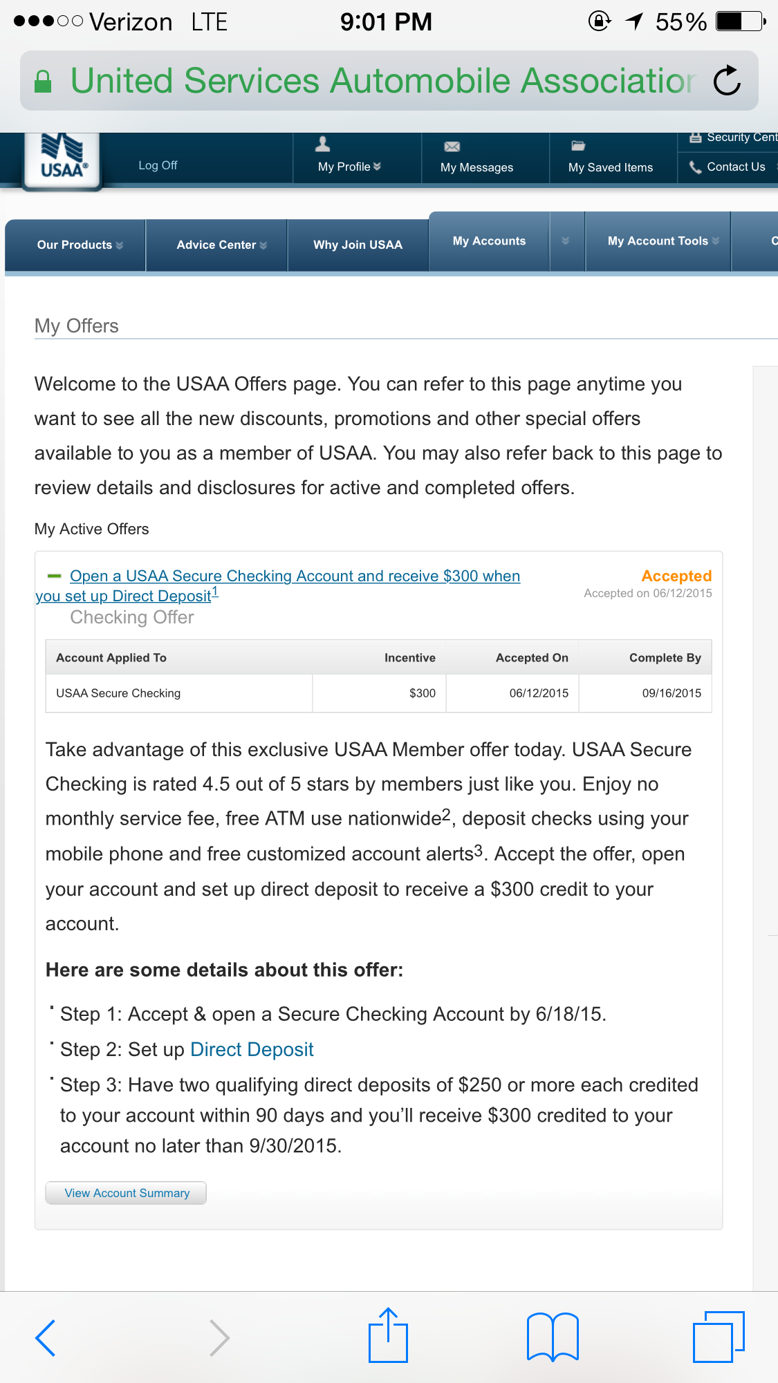 Anybody Receive Their $300 For New Checking Accoun  Usaa Member Munity