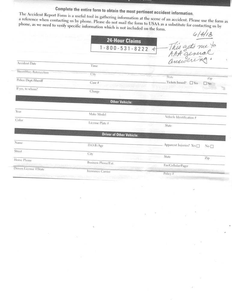 Solved: accident report form - USAA Community - 170715