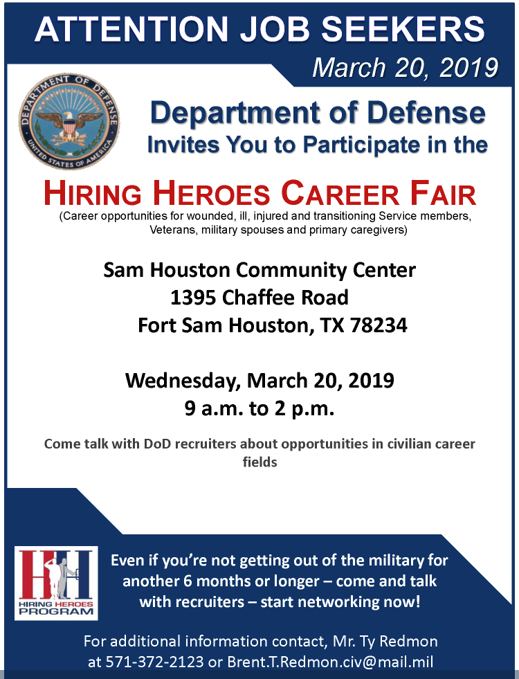 DoD Hiring Heroes Career Fair Visits Fort Sam Houston March 20th