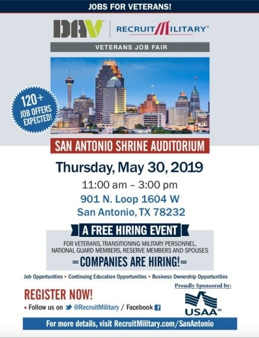San Antonio Veterans Job Fair May 30th