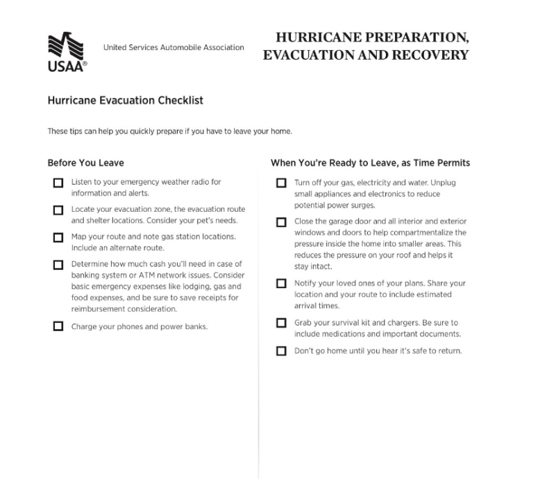 Hurricane Evacuation Checklist USAA Community.png